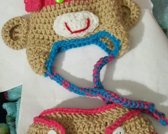 Monkey hat and diaper cover set