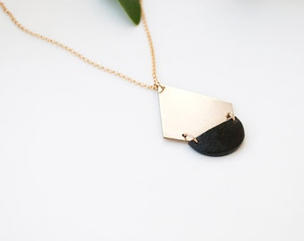 Minimal Necklace, Geometric Necklace, Pendant Necklace, Long Gold Neclace, Triangle Necklace, Statement Necklace | THE PLACKART