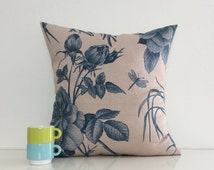 """SALE Rose and Dragonfly Printed Cushion Covers, Blue & Neutral Floral Decorative Pillows, 18"""" x 18"""" Textured Cushions."""