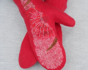 Felted mittens  Red mittens Warm mittens Wool mittens Mittens Merino wool Gloves Birthday gift Valentine gift idea