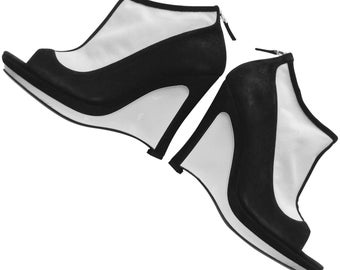 Fendi Vintage Black and White Platform Wedges.