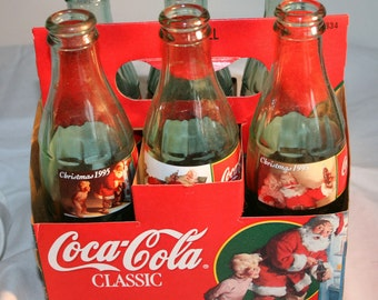 1995 Coca Cola Commemorative Christmas Bottles//Coca Cola Bottles With Carrying Case//Vintage Coca Cola Bottles