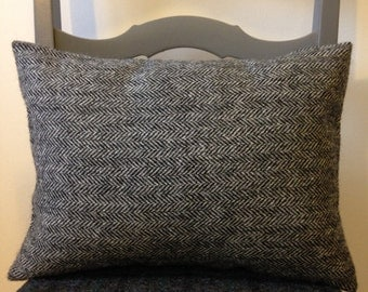 Harris Tweed Charcoal Herringbone Cushion Cover - 40x30cm