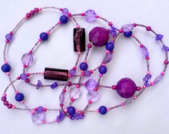 Beaded necklace, mixed media necklace,  multistrand necklace, handmade jewelry, unique beaded necklace, purple necklace, gift for mother