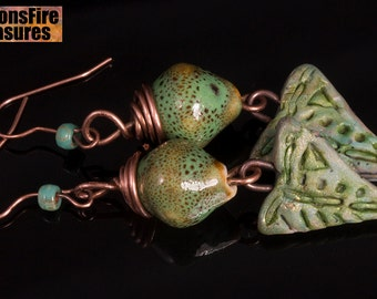 Spring buds - Ceramic beads and polymer clay beads