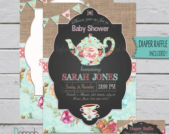 Tea Party Baby Shower Invitation, Floral Tea Party, Baby Shower Tea Party  Invitation,