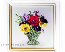 """Silk Ribbon Embroidery Kit with Frame """"Pansies"""""""