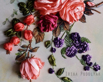 """Silk ribbon embroidery  """"Whisper roses"""" - full kit"""