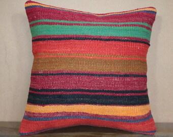 Decorative Kilim Pillow Cover - Cushion Cover - Kilim Pillow -16x16 - 40x40 cm Sofa Pillow,Bohemian Pillow,Throw Pillow SP40-224