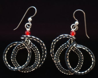 Swirled Black and Silver Woven-wire Earring with Sterling Ear Wire