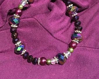 Playful Purple stretch beaded bracelet