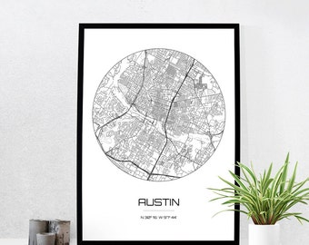 Austin Map Print - City Map Art of Austin Texas Poster - Coordinates Wall Art Gift - Travel Map - Office Home Decor