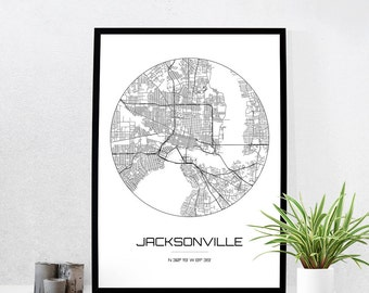 Jacksonville Map Print - City Map Art of Jacksonville Florida Poster - Coordinates Wall Art Gift - Travel Map - Office Home Decor
