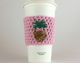 Pineapple Coffee Cup Cozy / Crochet Coffee Sleeve / Reusable Cozie / Customizable
