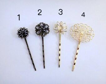 Assorted vintage inspired floral patterned bobbi pins - antique bronze gold hair pins