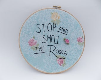 Smell The Roses Embroidered Wall Hoop