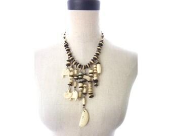 Vintage Bovine Bone Beaded Link Dangle Necklace Unique