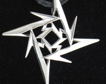 Ninja Star Pendant - Sterling Silver on Leather Cord