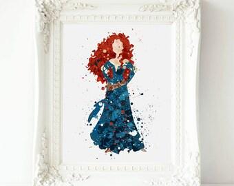 Brave inspired Merida Disney Princess Quote , Merida Disney Watercolor Print, Merida Nursery Art  printable Merida  Gift,
