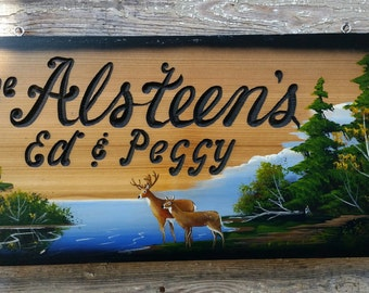 Personalized carved wood signs,  Great for  your  Home,  Cabin,  Cottage,  Deer lake scene, approximately  12x24 inches