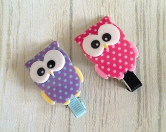 Pink and Purple Owl Hair Clips, Owl Hair Clips, Girls Hair Clips