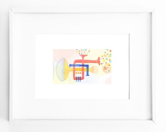 ORIGINAL WATERCOLOR painting, illustration, wall decor, music room decor, nursery decor, sunny bright colors, wall art - Let the music begin