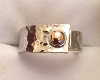 Handmade 9ct rose gold & silver ring