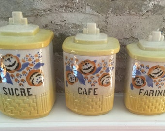 Fabulous Set of French Vintage Canisters