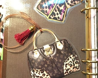 Hand made DOUBLE SIDED Leopard Tote Bookmark with Silk Ribbon & Tassel
