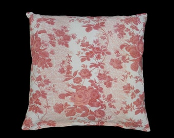 French Pillow Handmade Accent Cushion Throw Floral Chintz Vintage Fabric Romanex