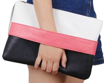 Vegan clutch/black and pink clutch/ womens clutch/boho clutch/animal friendly