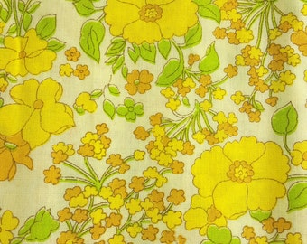 Mid Century Vintage Fabric Floral Yellow and Green