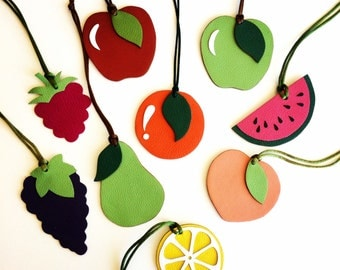 NEW! Fruit Leather Bagcharms Double-Sided Reversible and Single-Sided