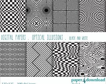 "Optical Illusions - Black & White Digital Paper, 12""x12"",JPG, Printable, Instant Download"