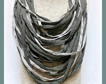 Khaki green t-shirt yarn necklace-scarf necklace-textile jewelry-upcycled necklace-eco friendly jewelry-feminine-multi cords-boho chic