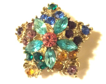 Vintage colored rhinestone star pin