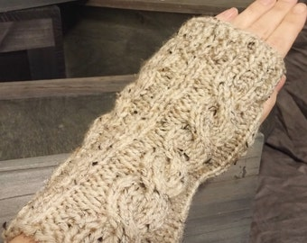Classic Cabled Fingerless Gloves  - wrist warmers - arm warmers - Ready to Ship