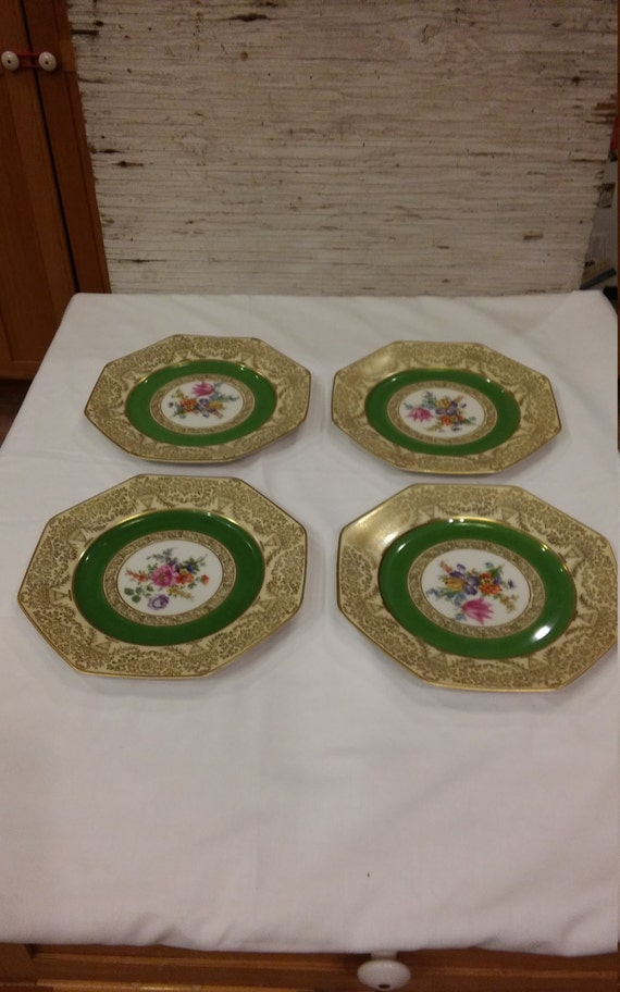 "Vintage P.T. Bavaria Tirschenreuth Germany Set of 12 Floral Medallion Green Dessert Plates. Octagon Shaped. Approx. 8"". Excellent Condition."