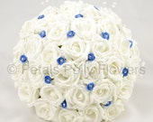 Artificial Wedding Flowers White  Royal Blue Rose Brides Bouquet Posy