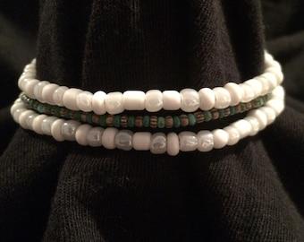 White, green and tan beaded bracelet