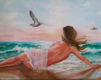 """Original oil on canvas painting """"At the beach"""""""