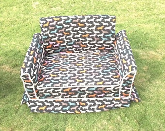 Custom Dog Couch (Black with Colorful Dog Print)
