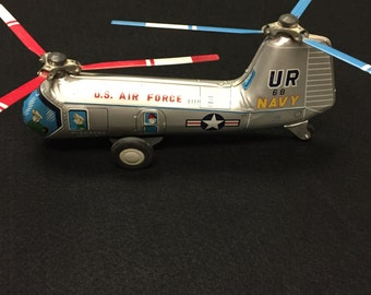 VINTAGE NOMURA HELICOPTER, Tin Friction Toy, Air Force, Navy, Piasecki Hup-2, with Blades!!! Rare!!! Antique! Super Cool!!! 1950s