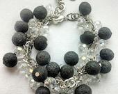 FREE SHIPPING - Lava cluster bracelet, Lava bracelet, Charm bracelet, Essential Oil Bracelet Diffuser, Black and White, Aromatherapy