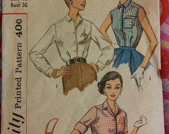 Vintage Simplicity Pattern 2195 Miss Size 16 Bust 36