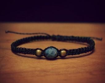 Macramé bracelet with Sodalite and brass beads