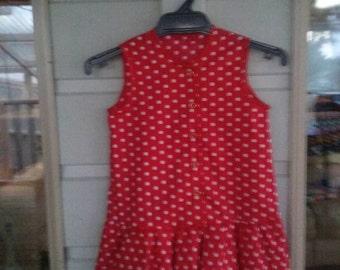 Red & White Polka Dot Layered Dress