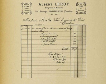 Antique French Handwritten Invoice #1 - Digital Download Image Transfer Pillow Burlap Iron-On Teeshirt Fabric Scrapbooking Digital Stamp