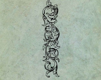 Scrolling Decorative Element with Dragon Head - Antique Style Clear Stamp