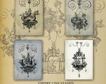 Mythical Fantastical Baroque Style Beasts and Ornate Ornaments Backgrounds for ATC Downloadable Printable Scrapbook Paper Crafts Tags
